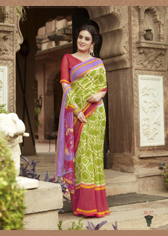 Green with Pink Border Jute Saree- JS011