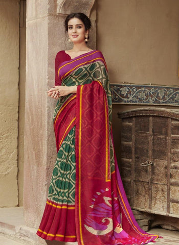 Green with rose border jute saree- JS010