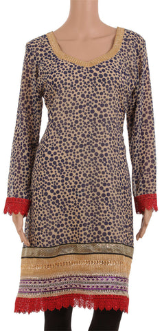 Customizable Beige & Blue Animal Print Designer Kurta