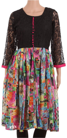 Customizable Multicoloured Georgette & Black Lace Designer Dress