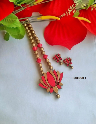 Lotus Pendant Terracotta Jewelry Set