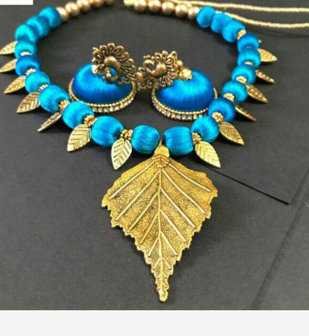 Light Blue with Golden Leaf Pendant Silk Thread Jewellery Set-STJSW-105
