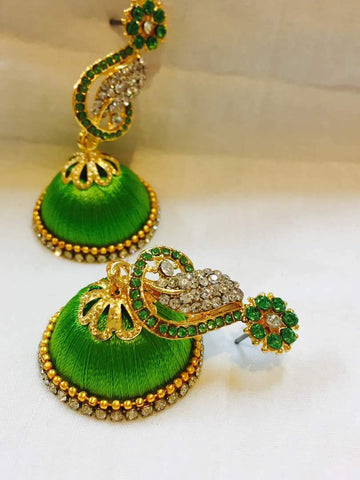 Light Green and White Stone Studded Peacock Neck Floral Silk Thread Jhumkas-STJH-048