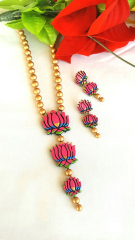 Lotus Stringed Terracotta Jewellery  Set-TJS-066