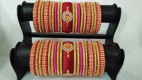 Maroon with Pink and Orange Floral Stone Worked Silk Thread Bangle Set-STJSW-060