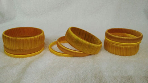 Mustard Dual Color Fancy Wear Silk Thread Bangles-STBS-009