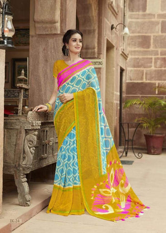 Mustard and Sky Blue Jute Saree-JS001