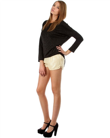 GOLD SEQUIN SHORTS WITH SLIT SIDES