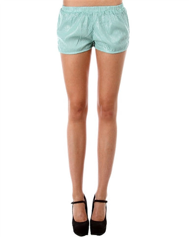 MINT SEQUIN SHORTS WITH SLIT SIDES