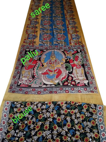 Natural Multicolor Cotton Kalamkari Saree-NMKPCS-008