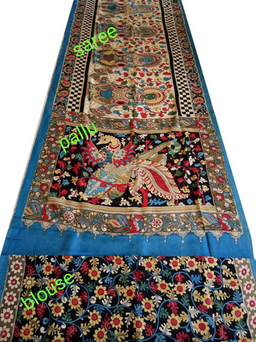 Natural Multicolor Cotton Kalamkari Saree-NMKPCS-009