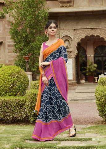 Navy Blue and Pink Jute Saree-JS002