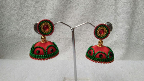 Orange and  Dark Green Beaded Silk Thread Jhumkas-STJH-062