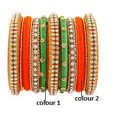 Orange and Green Studded Silk Thread Bangles