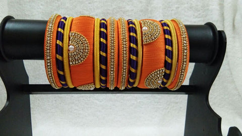 Orange with Blue and Golden Stone Worked Silk Thread Bangle Set-STJSW-050