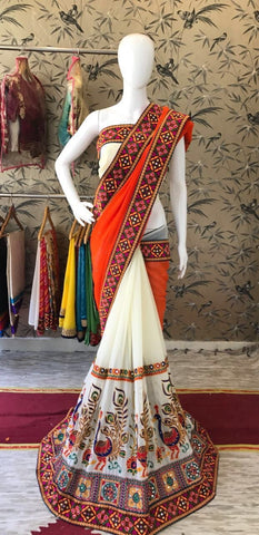 Orange with Maroon Border Designer Georgette Saree-SRE-533