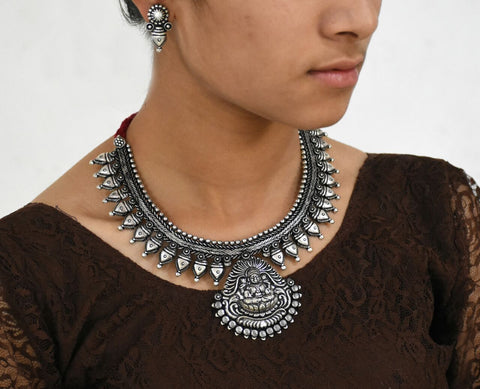 Oxidized Temple Necklace and Earrings-OTN041