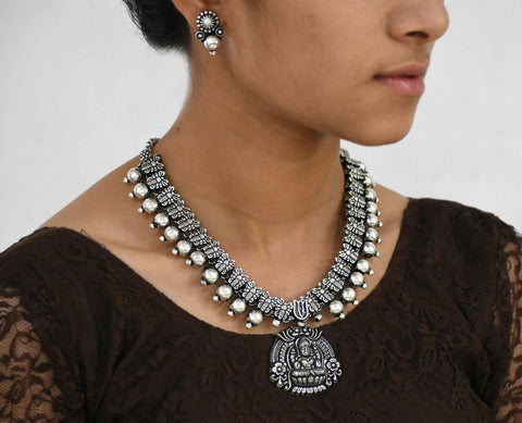 Oxidized Temple Necklace and Earrings-OTN044