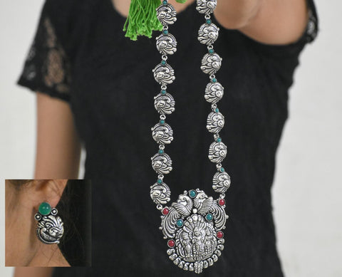 Oxidized Temple Necklace and Earrings-OTN046