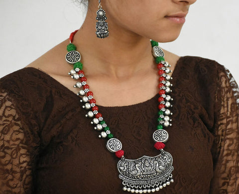Oxidized Temple Necklace and Earrings-OTN048