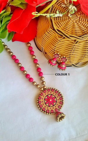 Pink Floral Pendant Terracotta Jewelry Set