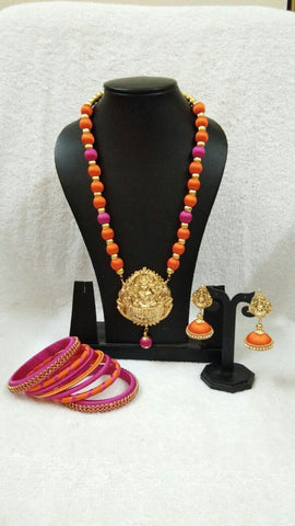 Pink And Orange Silk Balls With Laxshmi Antique Pendant Silk Thread Jewellery Set-STJSW-010