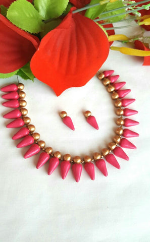 Pink Droplet Designed Terracotta Jewellery Set-TJS-068