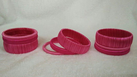 Pink Dual Color Fancy Wear Silk Thread Bangles-STBS-008
