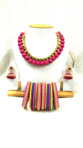 Pink Silk Thread Jewellery Set-STJSW-012