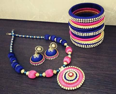 Pink and Blue Silk Thread Jewellery Set