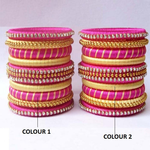 Pink and Gold Stone Studded Silk Thread Bangle Set