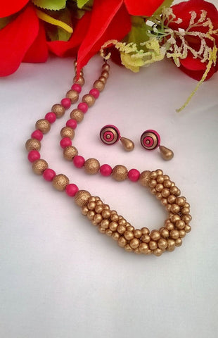 Pink and Golden Beads Set