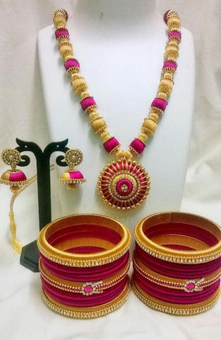 Pink and Golden Round Pendant Silk Thread Jewellery Set-STJSW-107