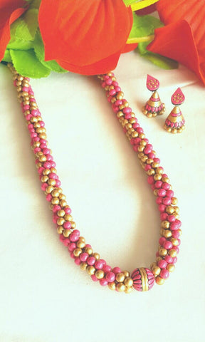 Pink and Golden Terracotta Jewellery Set -TJS-021
