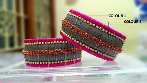 Pink and Grey Stone Studded Silk Thread Bangle Pair