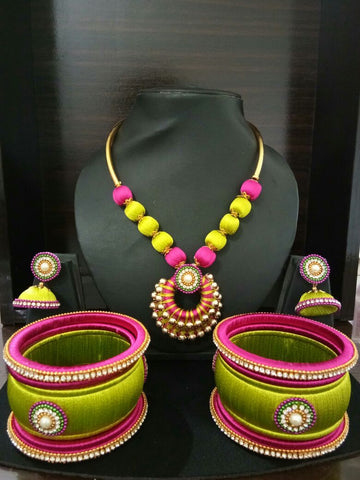 Pink and Light Green Chandbali Pendant Silk Thread Jewellery Set-STJSW-102