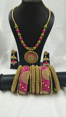 Pink and Olive Green Round Pendant Silk Thread Jewellery Set-STJSW-089