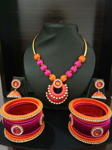 Pink and Orange Chandbali Pendant Silk Thread Jewellery Set-STJSW-103