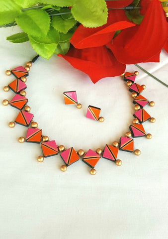 Pink and Orange Diamond Shaped Terracotta Jewellery  Set-TJS-065