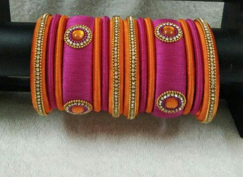 Pink and Orange Floral Stone Worked Silk Thread Bangle Set-STJSW-069