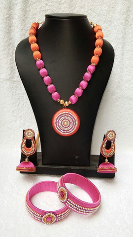 Pink and Orange Round Pendant Silk Thread Jewellery Set-STJS-012