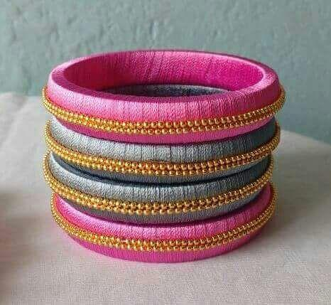 Pink and Turquoise Blue Silk Thread Bangles