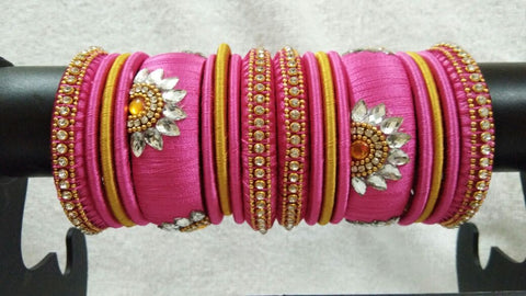 Pink and Yellow Floral Stone Worked Silk Thread Bangle Set-STJSW-054