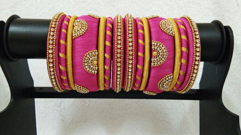 Pink and Yellow Floral Stone Worked Silk Thread Bangle Set-STJSW-055