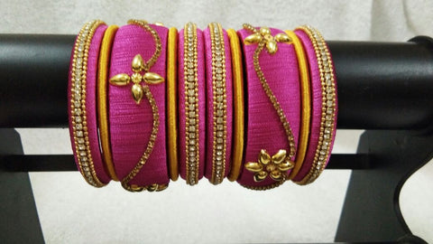 Pink and Yellow Floral Stone Worked Silk Thread Bangle Set-STJSW-067