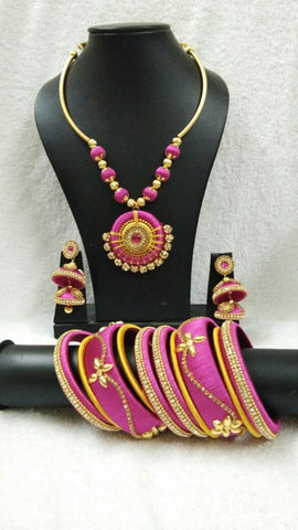 Pink and Yellow Round Pendant Silk Thread Jewellery Set-STJSW-095