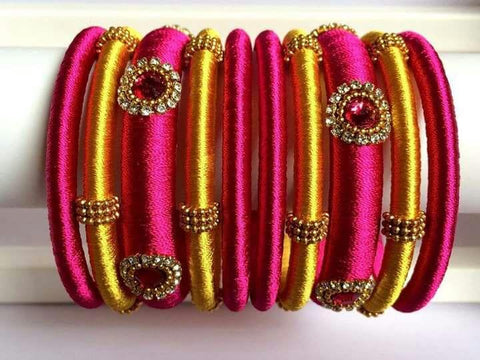 Pink and Yellow Silk Thread Bangles