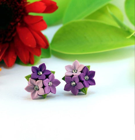 Purple Floral  Polymer Clay Studs