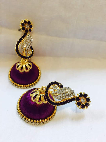 Purple and White Stone Studded Peacock Neck Floral Silk Thread Jhumkas-STJH-043