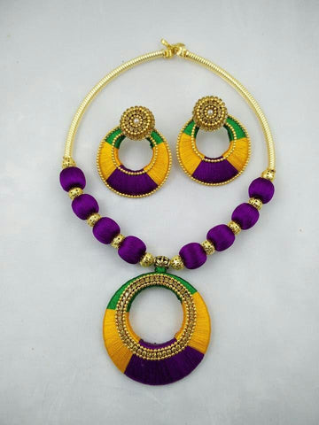 Purple with Green and Yellow Chandbali Pendant Silk Thread Jewellery Set-STJSW-108